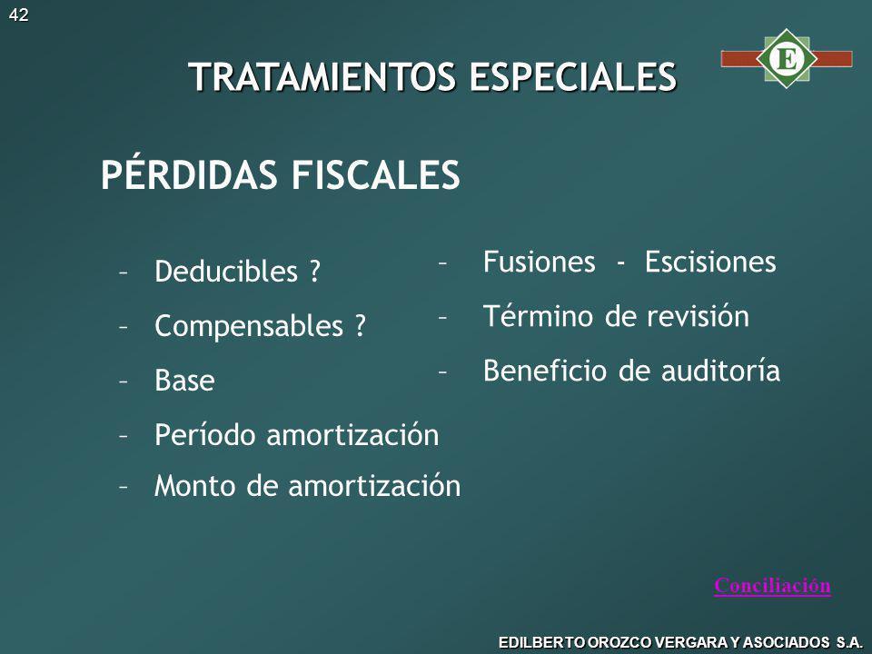 EDILBERTO OROZCO VERGARA Y ASOCIADOS S.A.42 PÉRDIDAS FISCALES – –Deducibles .