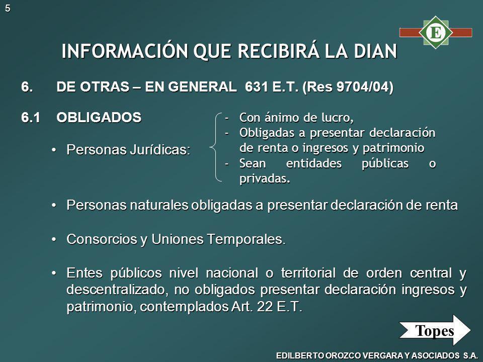 EDILBERTO OROZCO VERGARA Y ASOCIADOS S.A.5 INFORMACIÓN QUE RECIBIRÁ LA DIAN 6.