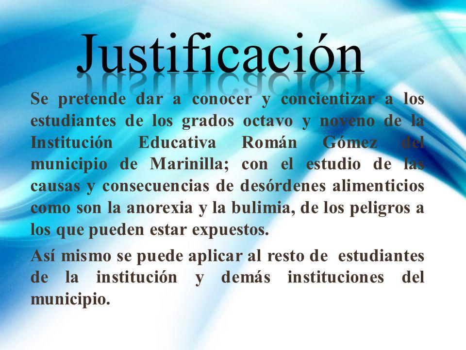 Se pretende dar a conocer y concientizar a los estudiantes de los grados octavo y noveno de la Institución Educativa Román Gómez del municipio de Mari