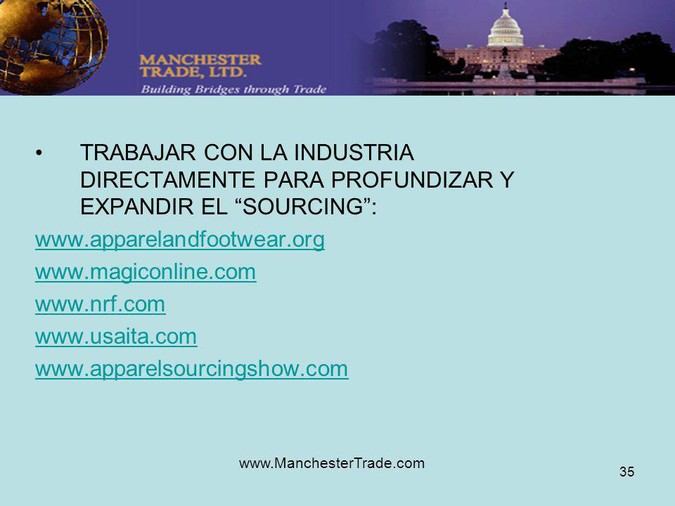 www.ManchesterTrade.com 35 TRABAJAR CON LA INDUSTRIA DIRECTAMENTE PARA PROFUNDIZAR Y EXPANDIR EL SOURCING: www.apparelandfootwear.org www.magiconline.com www.nrf.com www.usaita.com www.apparelsourcingshow.com