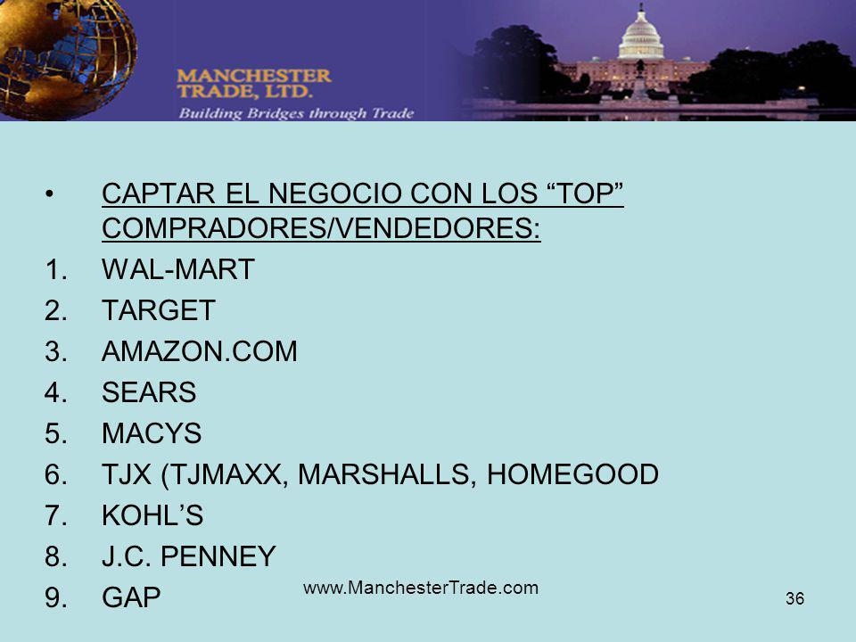 www.ManchesterTrade.com 36 CAPTAR EL NEGOCIO CON LOS TOP COMPRADORES/VENDEDORES: 1.WAL-MART 2.TARGET 3.AMAZON.COM 4.SEARS 5.MACYS 6.TJX (TJMAXX, MARSHALLS, HOMEGOOD 7.KOHLS 8.J.C.