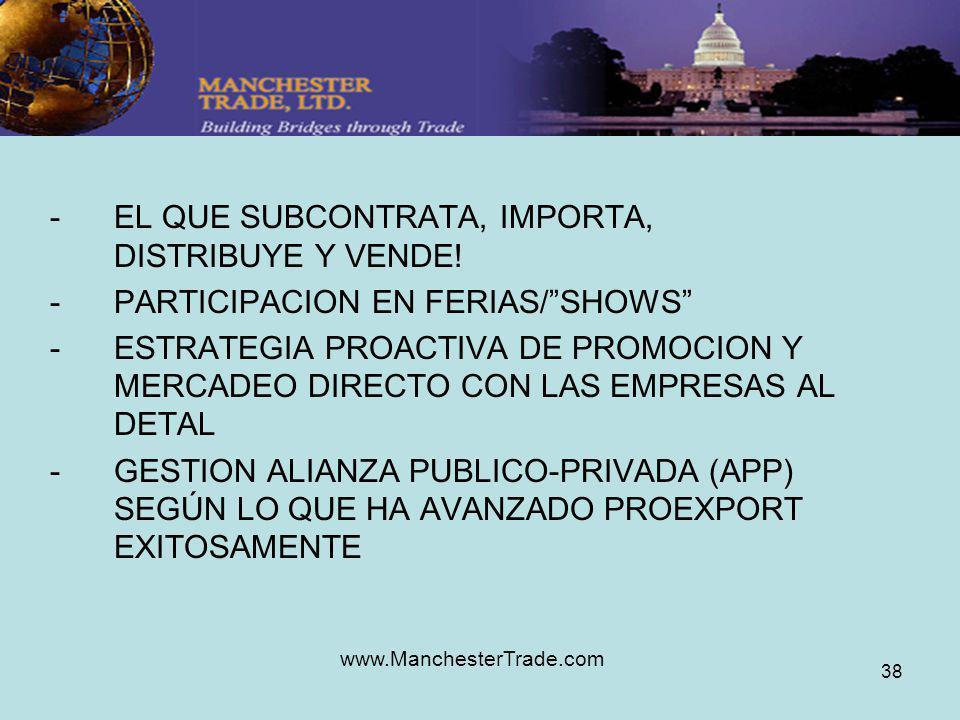 www.ManchesterTrade.com 38 -EL QUE SUBCONTRATA, IMPORTA, DISTRIBUYE Y VENDE! -PARTICIPACION EN FERIAS/SHOWS -ESTRATEGIA PROACTIVA DE PROMOCION Y MERCA