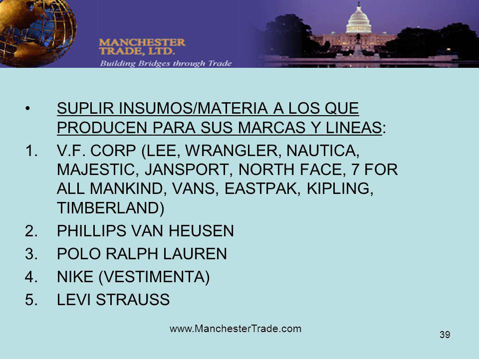 www.ManchesterTrade.com 39 SUPLIR INSUMOS/MATERIA A LOS QUE PRODUCEN PARA SUS MARCAS Y LINEAS: 1.V.F. CORP (LEE, WRANGLER, NAUTICA, MAJESTIC, JANSPORT