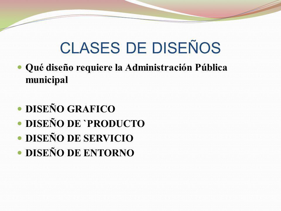 CLASES DE DISEÑOS Qué diseño requiere la Administración Pública municipal DISEÑO GRAFICO DISEÑO DE `PRODUCTO DISEÑO DE SERVICIO DISEÑO DE ENTORNO