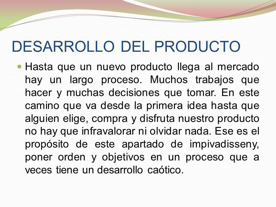 DESARROLLO DEL PRODUCTO Hasta que un nuevo producto llega al mercado hay un largo proceso. Muchos trabajos que hacer y muchas decisiones que tomar. En