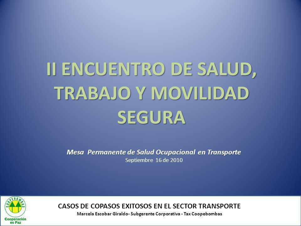 AGENDA TEMÁTICA CASOS DE COPASOS EXITOSOS EN EL SECTOR TRANSPORTE Marcela Escobar Giraldo- Subgerente Corporativa - Tax Coopebombas Resolución 2013 de 1986 NORMATIVIDADNORMATIVIDAD Extensión de programas de salud ocupacional para conductores ENTORNOENTORNO COPASOCOPASO Quienes lo conforman Funciones Logros Indicadores de gestión Quienes lo conforman Funciones Logros Indicadores de gestión