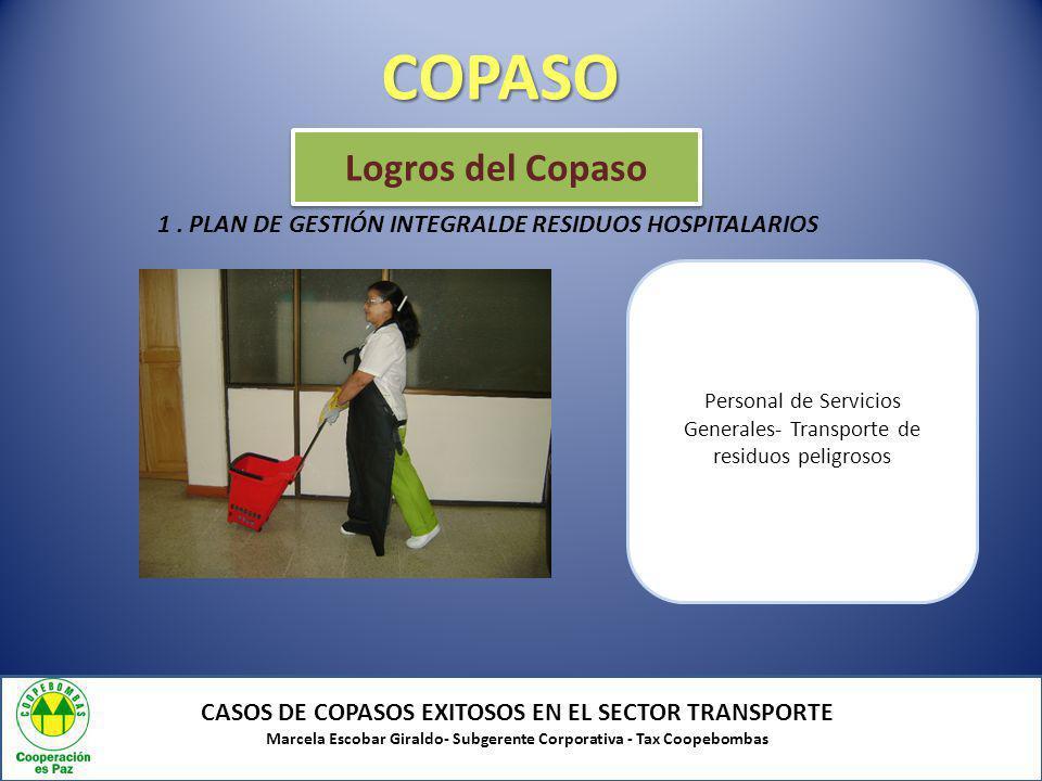 COPASO CASOS DE COPASOS EXITOSOS EN EL SECTOR TRANSPORTE Marcela Escobar Giraldo- Subgerente Corporativa - Tax Coopebombas Logros del Copaso Personal