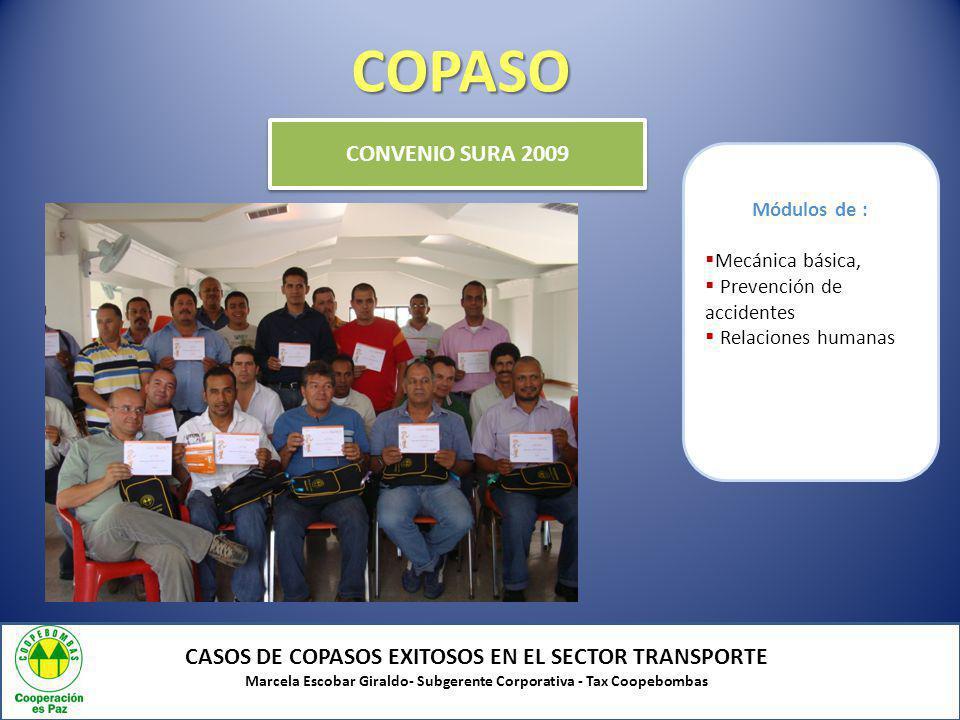 COPASO CASOS DE COPASOS EXITOSOS EN EL SECTOR TRANSPORTE Marcela Escobar Giraldo- Subgerente Corporativa - Tax Coopebombas CONVENIO SURA 2009 Módulos