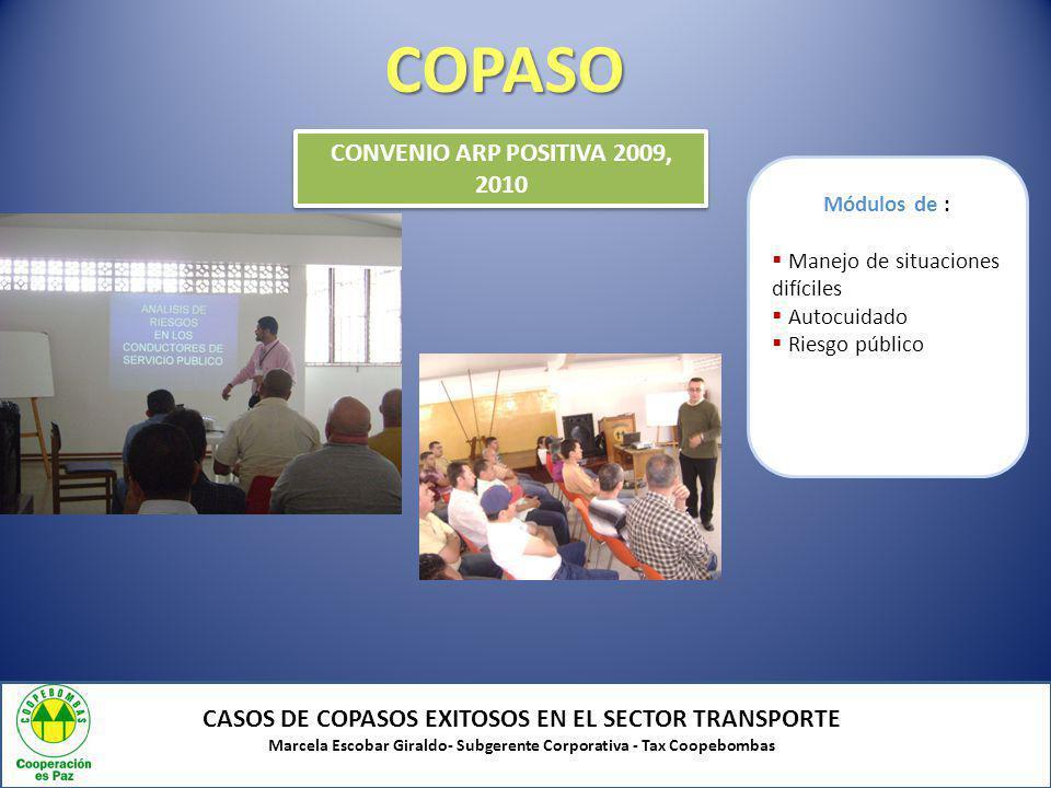COPASO CASOS DE COPASOS EXITOSOS EN EL SECTOR TRANSPORTE Marcela Escobar Giraldo- Subgerente Corporativa - Tax Coopebombas CONVENIO ARP POSITIVA 2009,