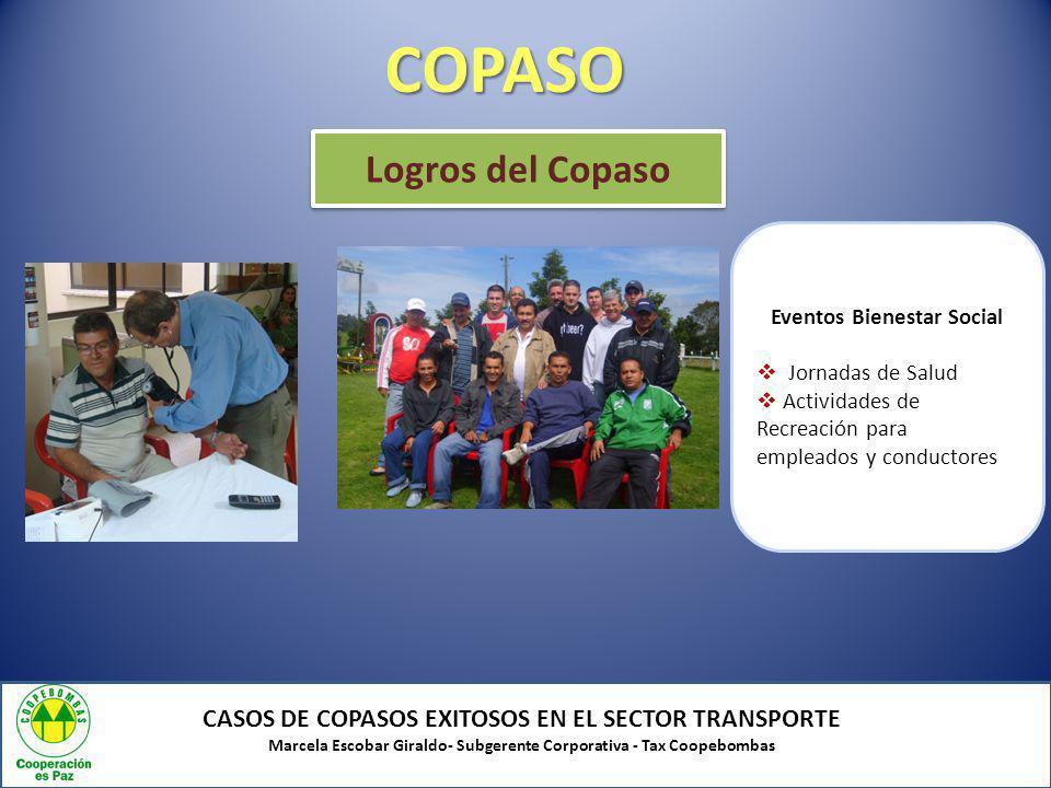 COPASO CASOS DE COPASOS EXITOSOS EN EL SECTOR TRANSPORTE Marcela Escobar Giraldo- Subgerente Corporativa - Tax Coopebombas Logros del Copaso Eventos B