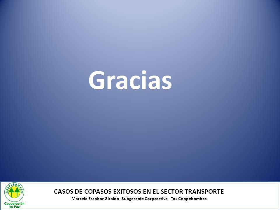 CASOS DE COPASOS EXITOSOS EN EL SECTOR TRANSPORTE Marcela Escobar Giraldo- Subgerente Corporativa - Tax Coopebombas Gracias