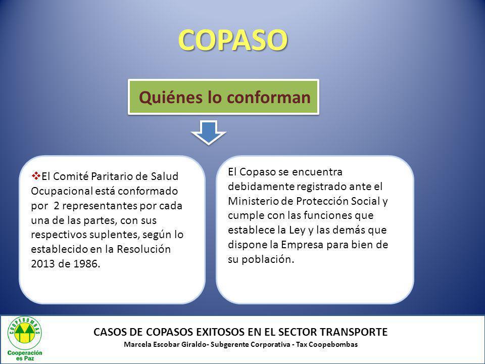 COPASO CASOS DE COPASOS EXITOSOS EN EL SECTOR TRANSPORTE Marcela Escobar Giraldo- Subgerente Corporativa - Tax Coopebombas Quiénes lo conforman El Com