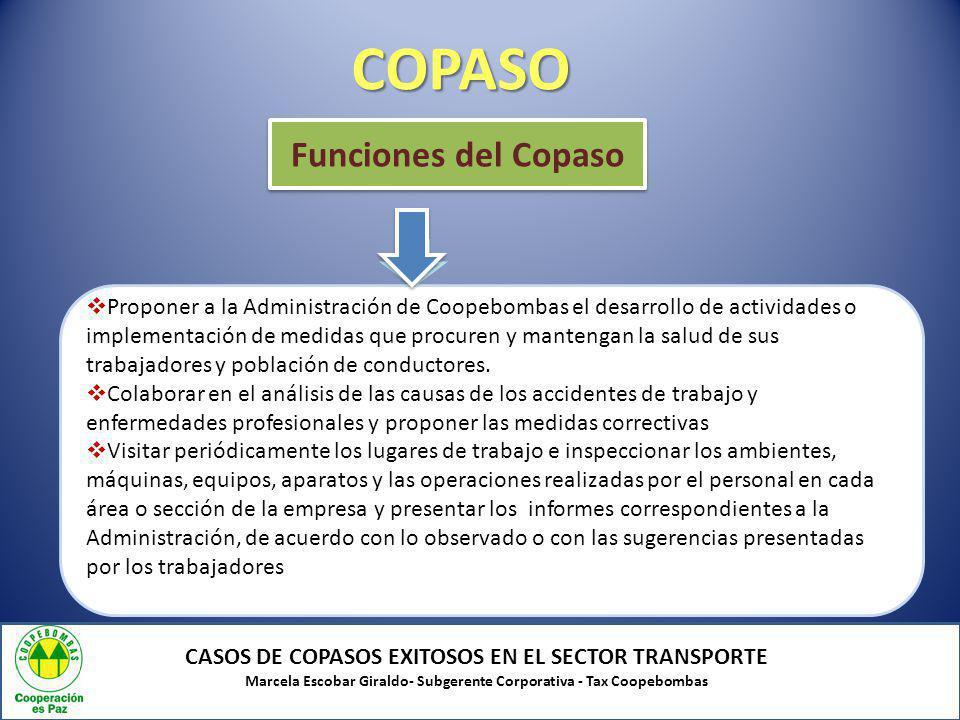 COPASO CASOS DE COPASOS EXITOSOS EN EL SECTOR TRANSPORTE Marcela Escobar Giraldo- Subgerente Corporativa - Tax Coopebombas Proponer a la Administració