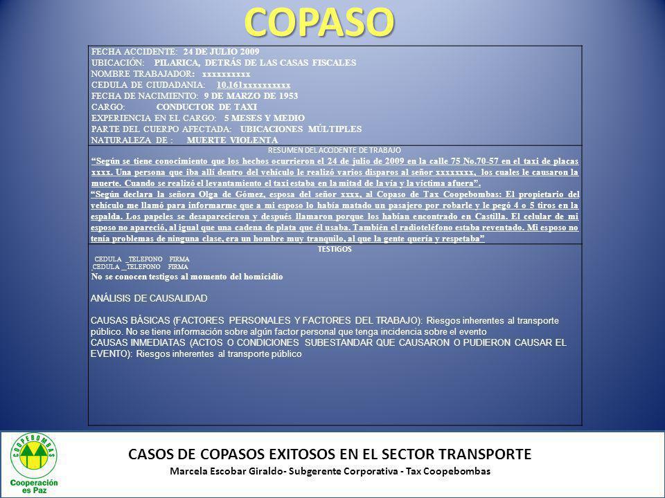 COPASO CASOS DE COPASOS EXITOSOS EN EL SECTOR TRANSPORTE Marcela Escobar Giraldo- Subgerente Corporativa - Tax Coopebombas FECHA ACCIDENTE: 24 DE JULI