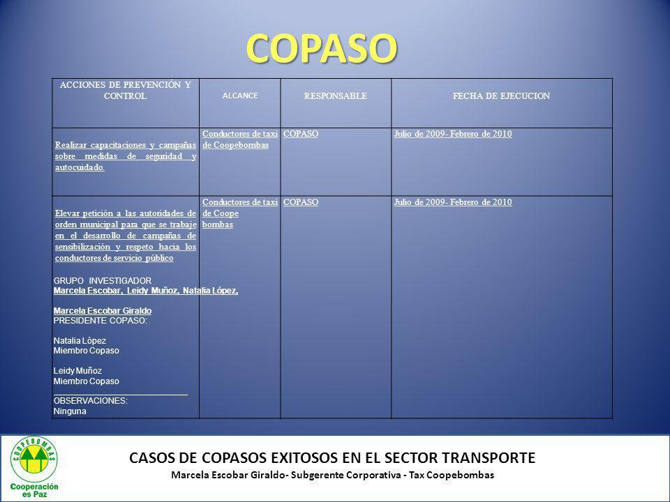 COPASO CASOS DE COPASOS EXITOSOS EN EL SECTOR TRANSPORTE Marcela Escobar Giraldo- Subgerente Corporativa - Tax Coopebombas INSPECCIONES DE SEGURIDAD EN COOPEBOMBAS AntesAhora Logros del Copaso
