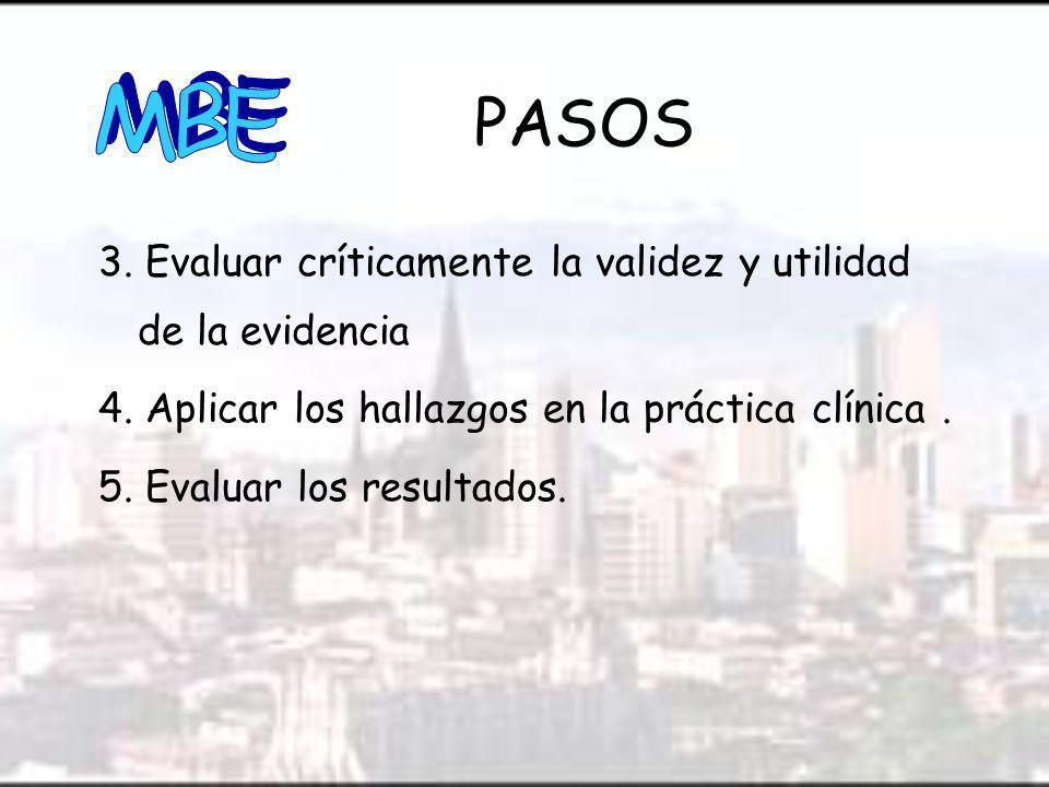 3.Evaluar críticamente la validez y utilidad de la evidencia 4.