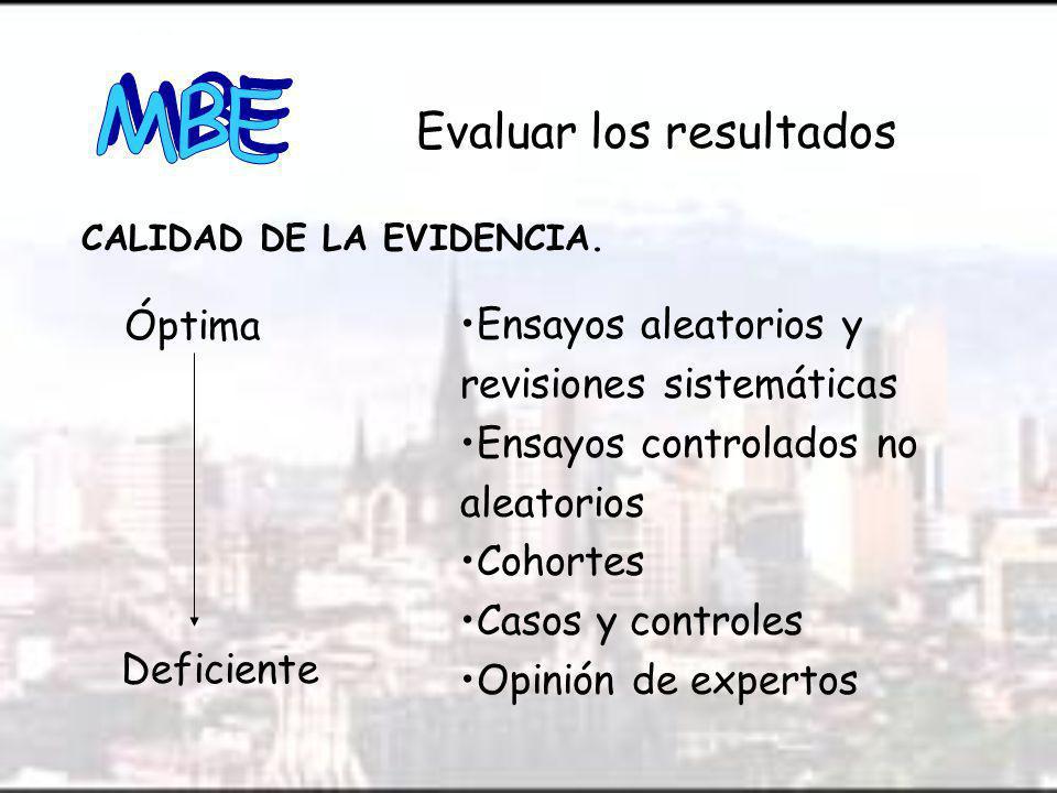 Óptima Evaluar los resultados CALIDAD DE LA EVIDENCIA.