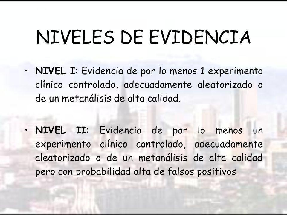 NIVELES DE EVIDENCIA NIVEL I: Evidencia de por lo menos 1 experimento clínico controlado, adecuadamente aleatorizado o de un metanálisis de alta calidad.