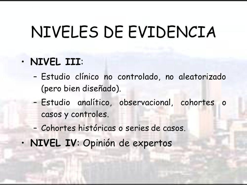 NIVELES DE EVIDENCIA NIVEL III: –Estudio clínico no controlado, no aleatorizado (pero bien diseñado).