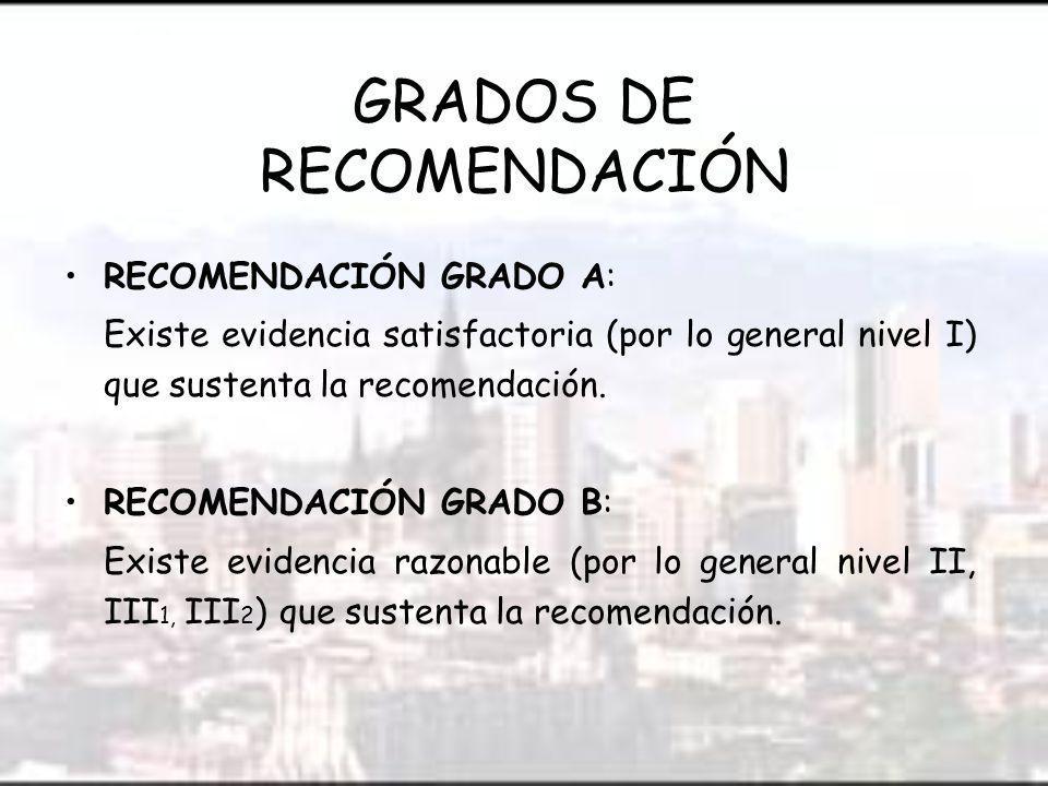 GRADOS DE RECOMENDACIÓN RECOMENDACIÓN GRADO A: Existe evidencia satisfactoria (por lo general nivel I) que sustenta la recomendación.