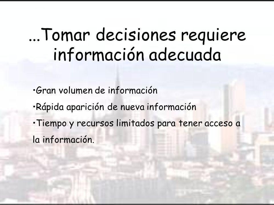 ...Tomar decisiones requiere información adecuada Gran volumen de información Rápida aparición de nueva información Tiempo y recursos limitados para tener acceso a la información.