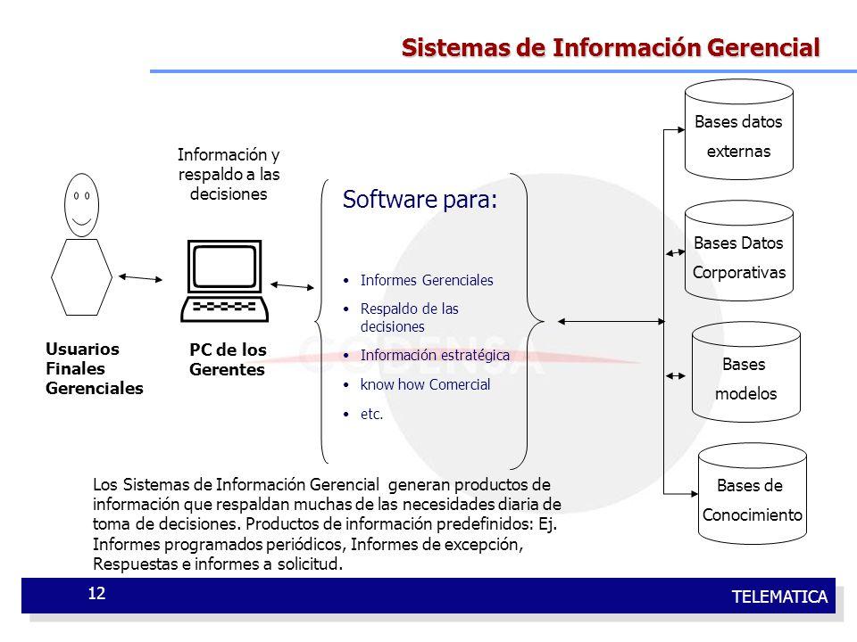 TELEMATICA 12 Sistemas de Información Gerencial Software para: Informes Gerenciales Respaldo de las decisiones Información estratégica know how Comerc
