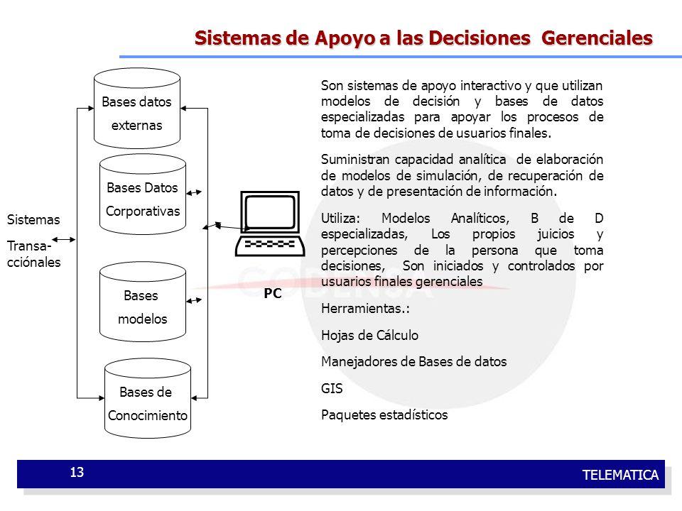 TELEMATICA 13 Sistemas de Apoyo a las Decisiones Gerenciales PC Bases datos externas Bases Datos Corporativas Bases modelos Bases de Conocimiento Son