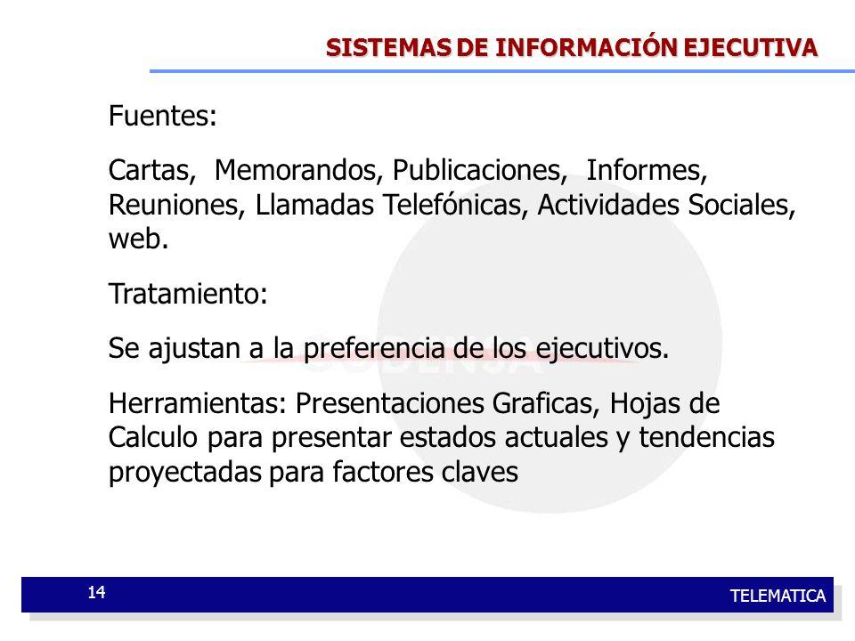 TELEMATICA 14 SISTEMAS DE INFORMACIÓN EJECUTIVA Fuentes: Cartas, Memorandos, Publicaciones, Informes, Reuniones, Llamadas Telefónicas, Actividades Soc