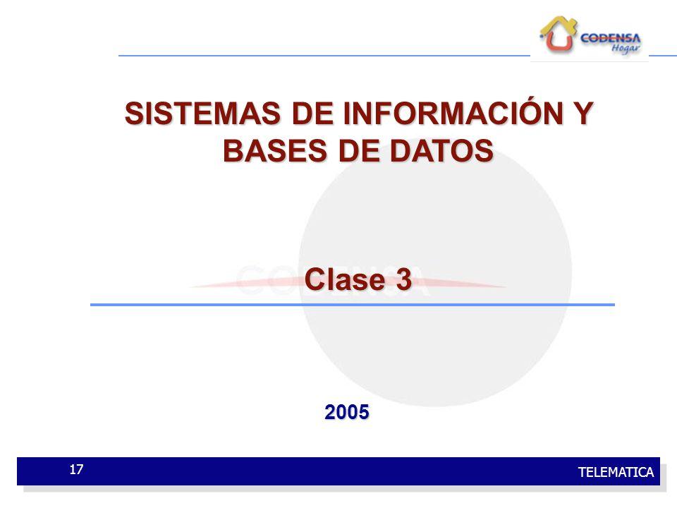 TELEMATICA 17 SISTEMAS DE INFORMACIÓN Y BASES DE DATOS Clase 3 2005