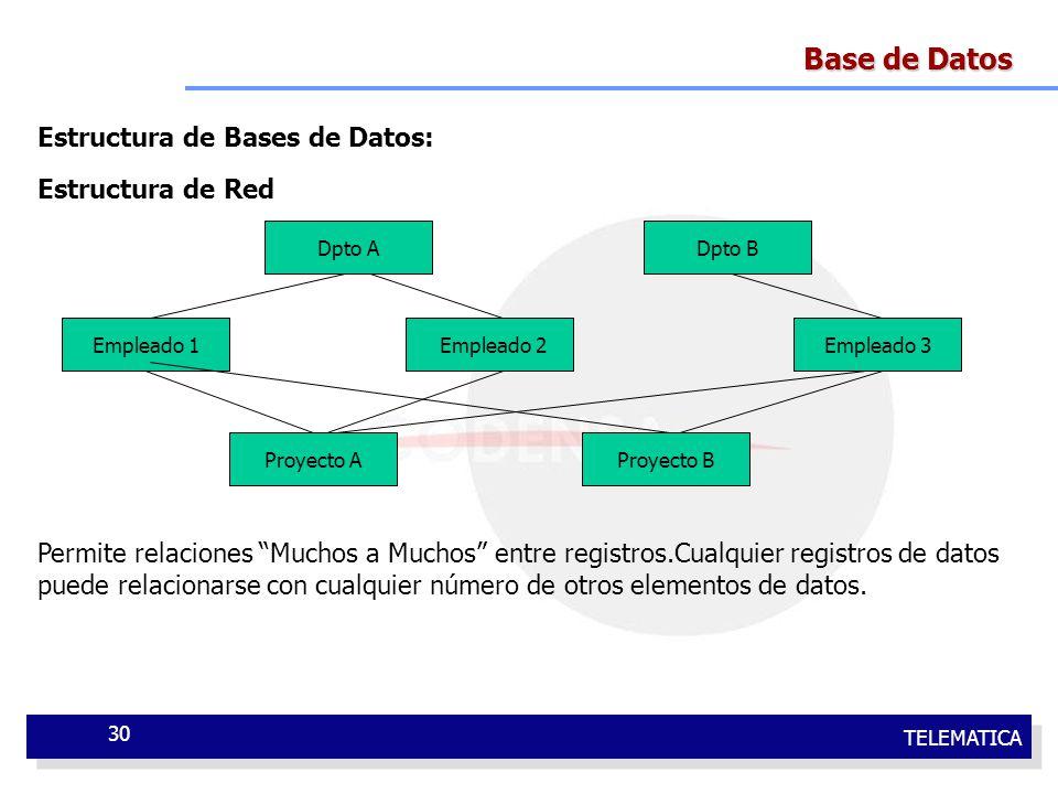 TELEMATICA 30 Base de Datos Estructura de Bases de Datos: Estructura de Red Permite relaciones Muchos a Muchos entre registros.Cualquier registros de