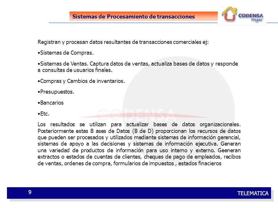 TELEMATICA 9 Sistemas de Procesamiento de transacciones Registran y procesan datos resultantes de transacciones comerciales ej: Sistemas de Compras. S