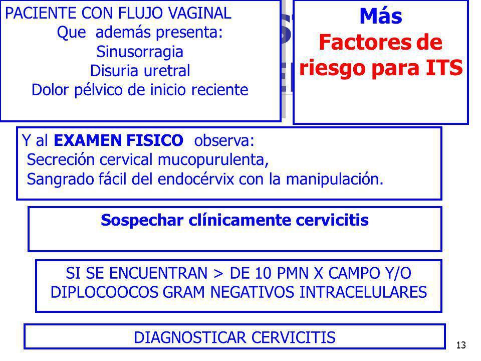 DR FREDDY MONDRAGON T13 SI USTED ENCUENTRA PACIENTE CON FLUJO VAGINAL Que además presenta: Sinusorragia Disuria uretral Dolor pélvico de inicio reciente PACIENTE CON FLUJO VAGINAL Que además presenta: Sinusorragia Disuria uretral Dolor pélvico de inicio reciente Más Factores de riesgo para ITS Y al EXAMEN FISICO observa: Secreción cervical mucopurulenta, Sangrado fácil del endocérvix con la manipulación.