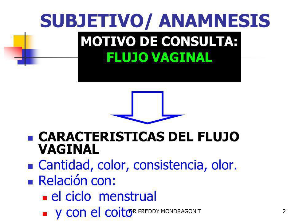 DR FREDDY MONDRAGON T2 SUBJETIVO/ ANAMNESIS CARACTERISTICAS DEL FLUJO VAGINAL Cantidad, color, consistencia, olor.