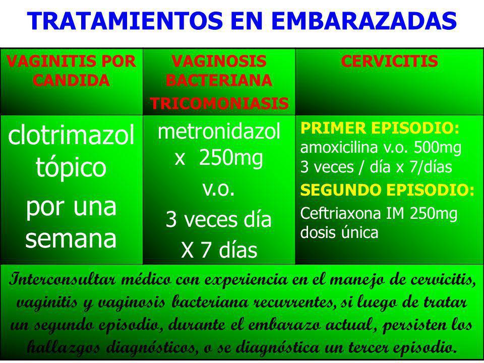 DR FREDDY MONDRAGON T21 TRATAMIENTOS EN EMBARAZADAS VAGINITIS POR CANDIDA VAGINOSIS BACTERIANA TRICOMONIASIS CERVICITIS clotrimazol tópico por una semana metronidazol x 250mg v.o.