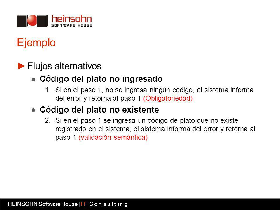 HEINSOHN Software House | Fábrica software HEINSOHN Software House | Ejemplo Flujos alternativos Código del plato no ingresado 1.Si en el paso 1, no s