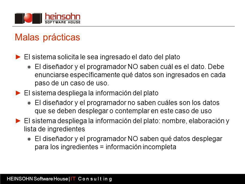 HEINSOHN Software House | Fábrica software HEINSOHN Software House | Malas prácticas El sistema solicita le sea ingresado el dato del plato El diseñador y el programador NO saben cuál es el dato.