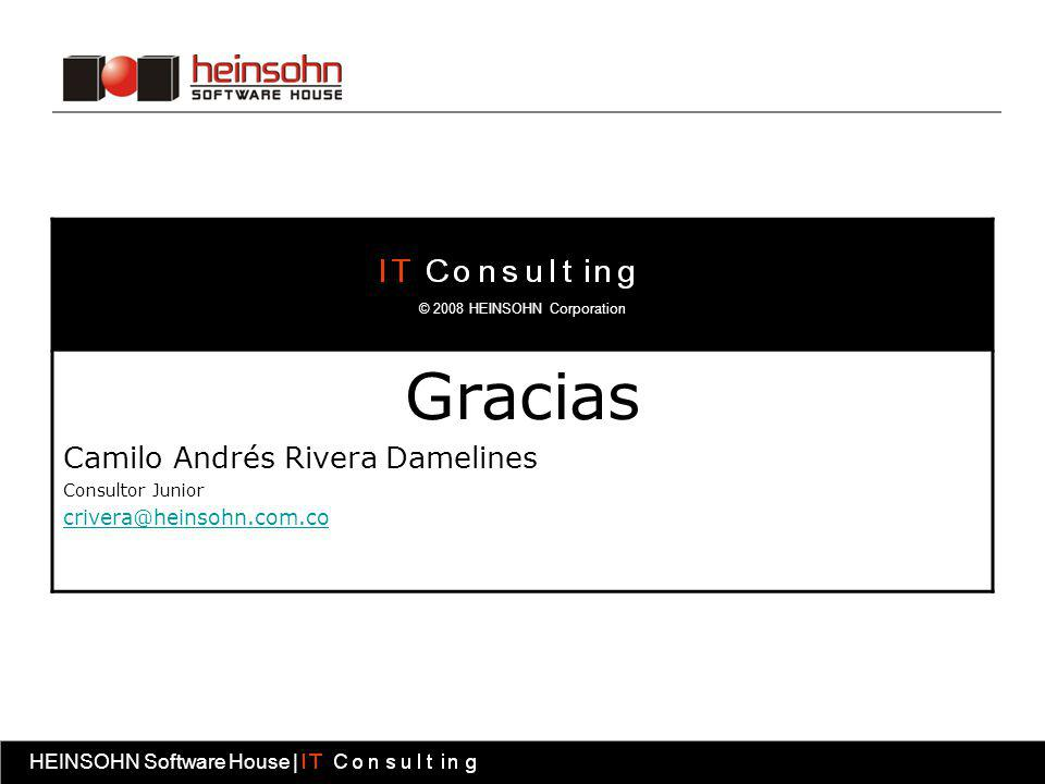 HEINSOHN Software House | Fábrica software HEINSOHN Software House | Gracias Camilo Andrés Rivera Damelines Consultor Junior crivera@heinsohn.com.co ©