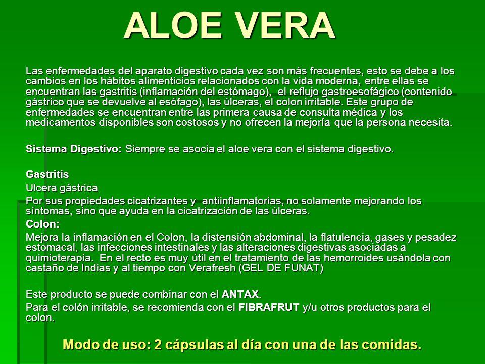 Aparte del cuidado y protección de la piel, Aloe también se usa para: Aparte del cuidado y protección de la piel, Aloe también se usa para: Suplemento para el sistema gástrico, desde indigestión, síndrome de colon irritable y colitis.