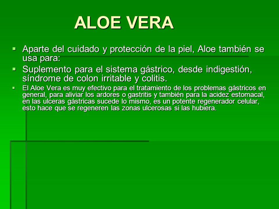 Aparte del cuidado y protección de la piel, Aloe también se usa para: Aparte del cuidado y protección de la piel, Aloe también se usa para: Suplemento