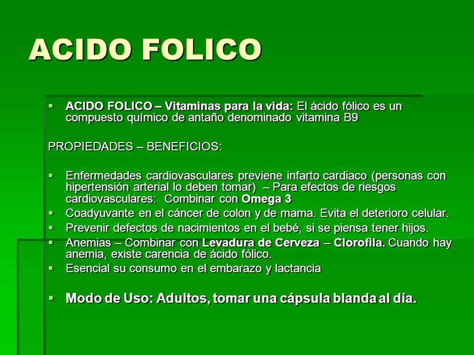 ACIDO FOLICO – Vitaminas para la vida: El ácido fólico es un compuesto químico de antaño denominado vitamina B9 ACIDO FOLICO – Vitaminas para la vida: