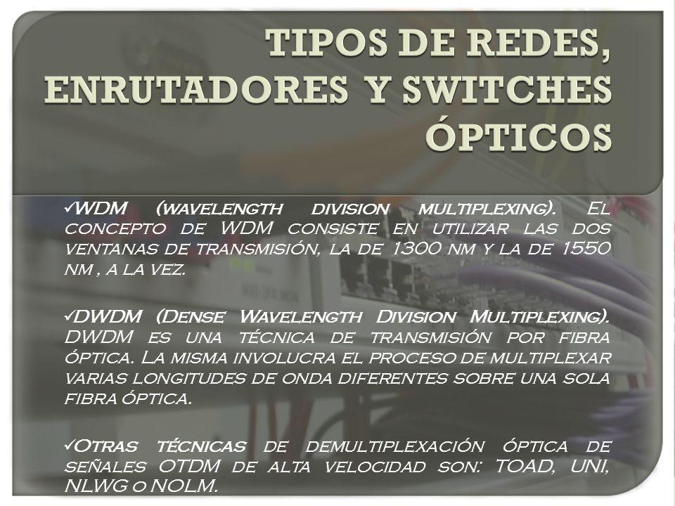 WDM (wavelength division multiplexing). El concepto de WDM consiste en utilizar las dos ventanas de transmisión, la de 1300 nm y la de 1550 nm, a la v