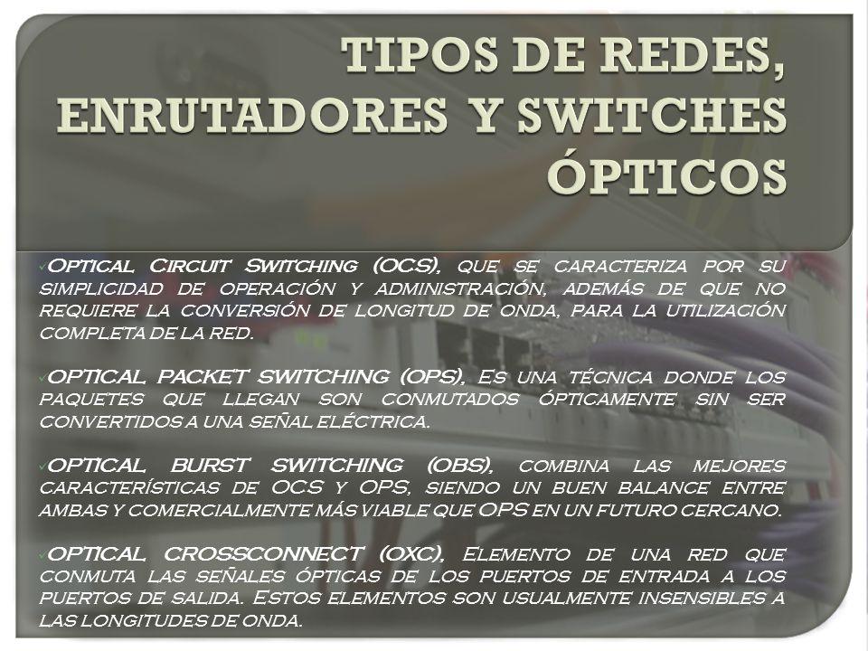 Optical Circuit Switching (OCS), que se caracteriza por su simplicidad de operación y administración, además de que no requiere la conversión de longi