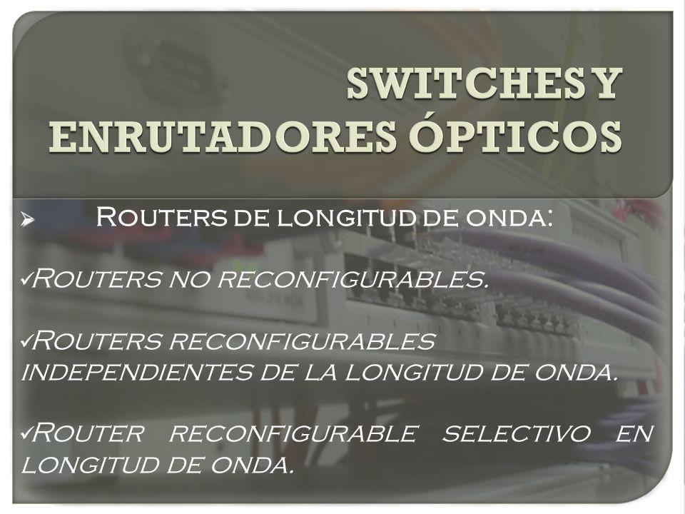 Routers de longitud de onda: Routers no reconfigurables. Routers reconfigurables independientes de la longitud de onda. Router reconfigurable selectiv