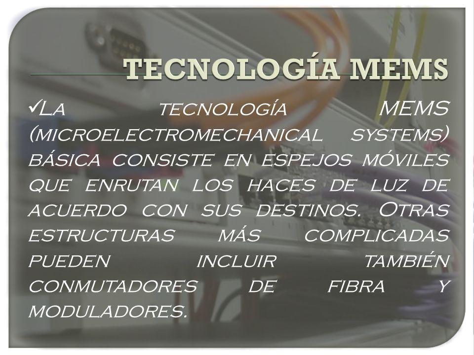 La tecnología MEMS (microelectromechanical systems) básica consiste en espejos móviles que enrutan los haces de luz de acuerdo con sus destinos. Otras