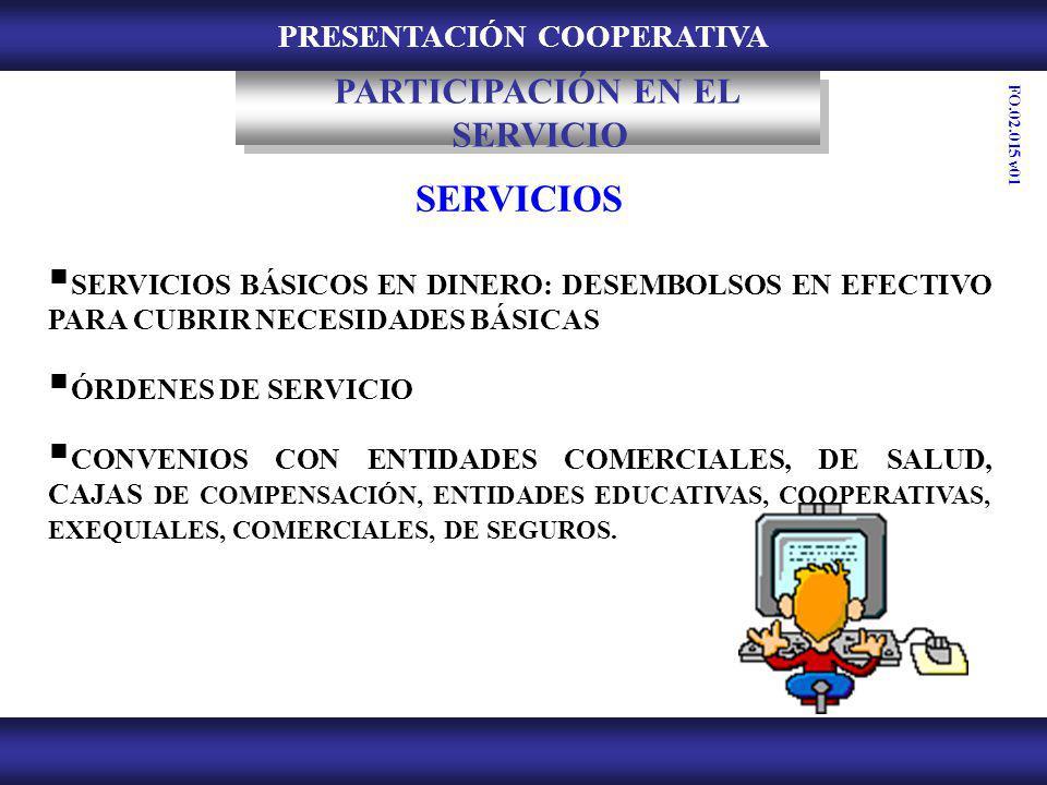 PRESENTACIÓN COOPERATIVA SERVICIOS SERVICIOS BÁSICOS EN DINERO: DESEMBOLSOS EN EFECTIVO PARA CUBRIR NECESIDADES BÁSICAS ÓRDENES DE SERVICIO CONVENIOS