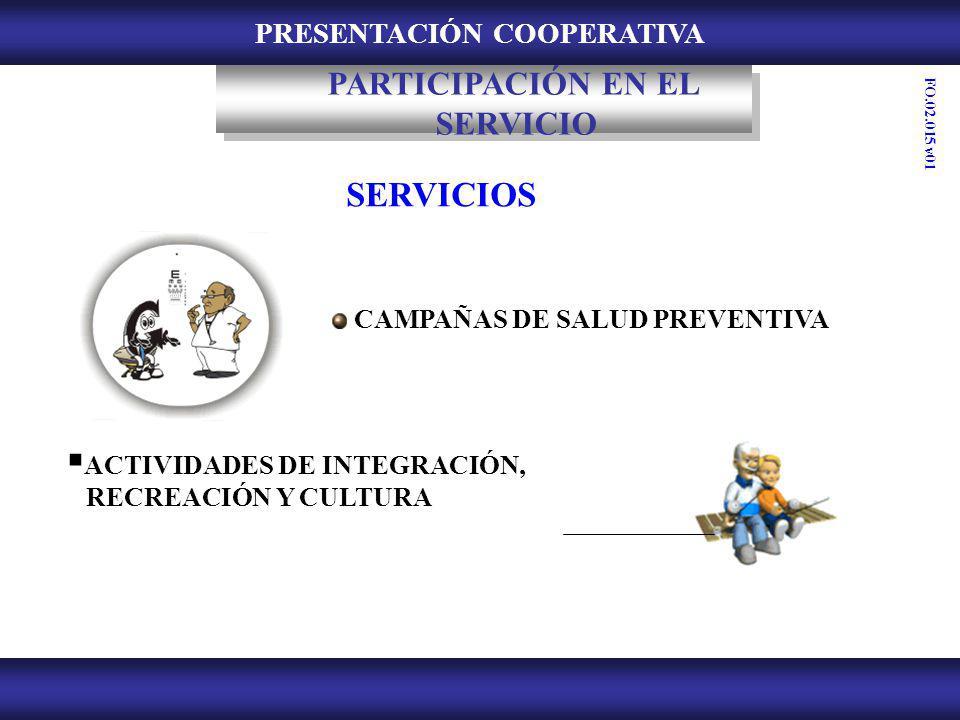PRESENTACIÓN COOPERATIVA ACTIVIDADES DE INTEGRACIÓN, RECREACIÓN Y CULTURA CAMPAÑAS DE SALUD PREVENTIVA SERVICIOS PARTICIPACIÓN EN EL SERVICIO FO.02.01