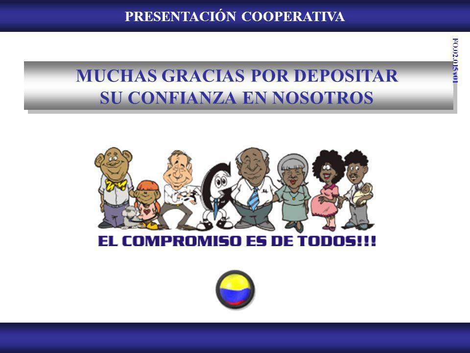 PRESENTACIÓN COOPERATIVA MUCHAS GRACIAS POR DEPOSITAR SU CONFIANZA EN NOSOTROS FO.02.015 v01