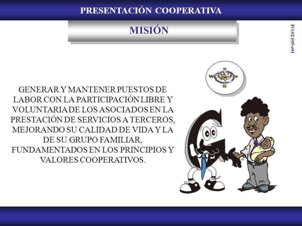 PRESENTACIÓN COOPERATIVA VISIÓN SER RECONOCIDOS EN EL MERCADO NACIONAL POR LA OPORTUNIDAD Y EFECTIVIDAD EN LA PRESTACIÓN DEL SERVICIO; GARANTIZANDO LA SATISFACCIÓN DE LOS ASOCIADOS Y LAS DEMÁS PARTES INTERESADAS, PROMOVIENDO EL MEJORAMIENTO DE LA CALIDAD DE VIDA.