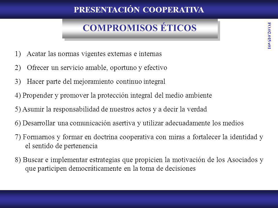 PRESENTACIÓN COOPERATIVA ACTIVIDADES DE INTEGRACIÓN, RECREACIÓN Y CULTURA CAMPAÑAS DE SALUD PREVENTIVA SERVICIOS PARTICIPACIÓN EN EL SERVICIO FO.02.015 v01