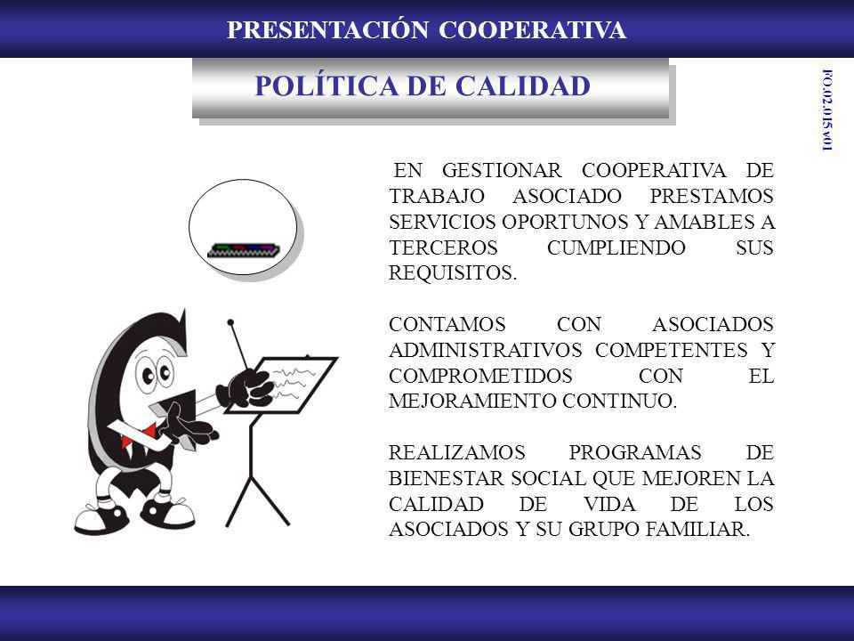 PRESENTACIÓN COOPERATIVA POLÍTICA DE CALIDAD EN GESTIONAR COOPERATIVA DE TRABAJO ASOCIADO PRESTAMOS SERVICIOS OPORTUNOS Y AMABLES A TERCEROS CUMPLIEND